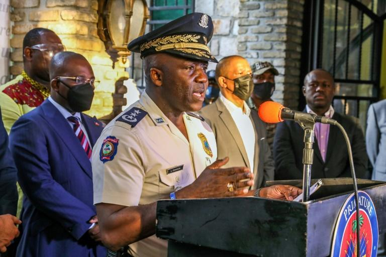 Haiti's Police General Director Leon Charles speaks during a press conference in Port-au Prince on July 11, 2021