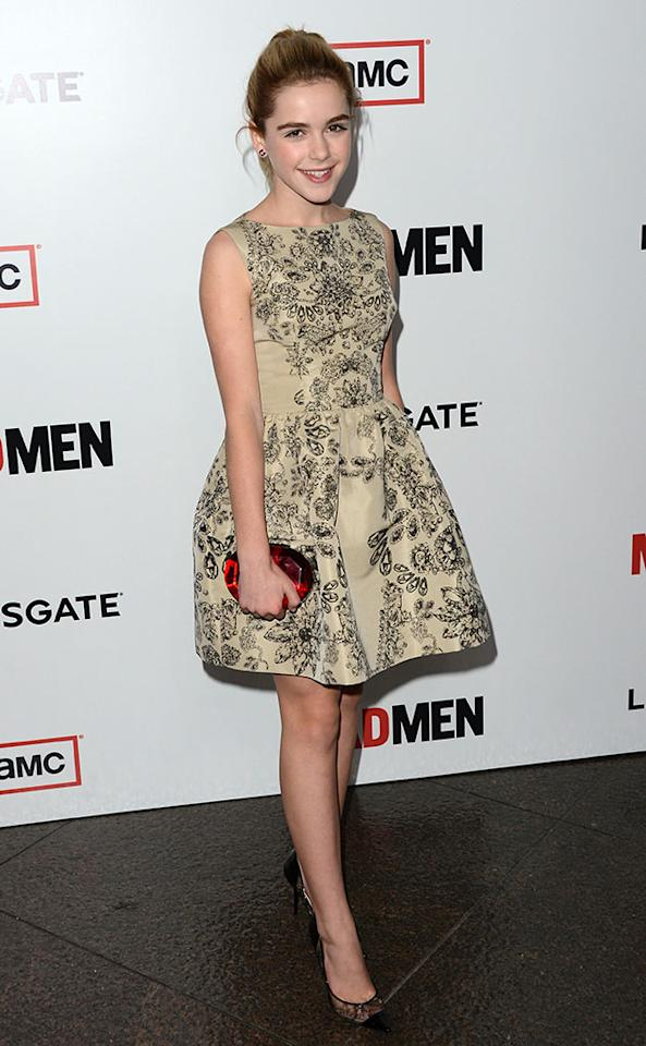 "Kiernan Shipka arrives at the Premiere of AMC's ""Mad Men"" Season 6 at DGA Theater on March 20, 2013 in Los Angeles, California."