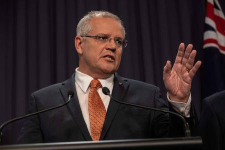 Prime Minister Scott Morrison speaks to the media during a press conference at Parliament House in Canberra, Australia, March 20, 2019. AAP Image/Andrew Taylor/via REUTERS