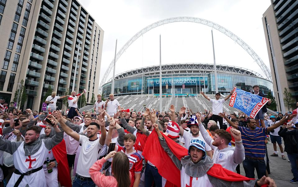 England fans outside the ground ahead of the Euro 2020 final (PA Wire)