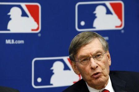 Major League Baseball Commissioner Bud Selig speaks at news conference to announce new collective bargaining agreement with players in New York