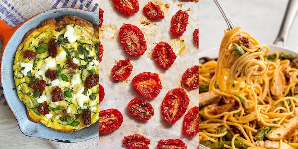 """<p>Sun dried tomatoes are delicious all year long, but especially during summer! Perfect in <a href=""""https://www.delish.com/uk/cooking/recipes/a32434399/asparagus-sundried-tomato-and-chicken-spaghetti-recipe/"""" rel=""""nofollow noopener"""" target=""""_blank"""" data-ylk=""""slk:pasta"""" class=""""link rapid-noclick-resp"""">pasta</a>, <a href=""""https://www.delish.com/uk/cooking/recipes/a35921386/sun-dried-tomato-tortellini-soup-recipe/"""" rel=""""nofollow noopener"""" target=""""_blank"""" data-ylk=""""slk:soup"""" class=""""link rapid-noclick-resp"""">soup</a> and even <a href=""""https://www.delish.com/uk/cooking/recipes/a33976260/sun-dried-tomato-risotto/"""" rel=""""nofollow noopener"""" target=""""_blank"""" data-ylk=""""slk:risotto"""" class=""""link rapid-noclick-resp"""">risotto</a>, we can't get enough of them. Which is why we've rounded up our favourite (best-ever) sun-dried tomato recipes, and we're convinced you're going to love 'em! What's more, we've even got a recipe for <a href=""""https://www.delish.com/uk/cooking/recipes/a33070295/sun-dried-tomatoes-recipe/"""" rel=""""nofollow noopener"""" target=""""_blank"""" data-ylk=""""slk:how to make sun-dried tomatoes"""" class=""""link rapid-noclick-resp"""">how to make sun-dried tomatoes</a>, from scratch (you're welcome). For a selection of easy sun-dried tomato recipes, keep reading...</p>"""