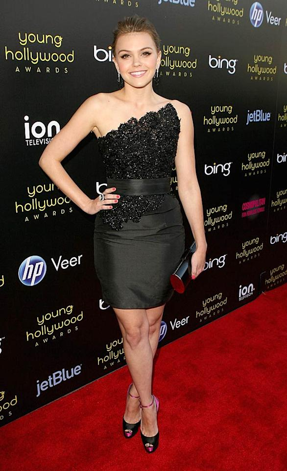 """Former """"Friday Night Lights"""" star Aimee Teegarden rocked the red carpet at the 2011 Young Hollywood Awards in fierce color-blocked heels and a Romona Keveza ensemble, which consisted of a sparkly top, belt, and chic skirt. Jesse Grant/<a href=""""http://www.wireimage.com"""" target=""""new"""">WireImage.com</a> - May 20, 2011"""