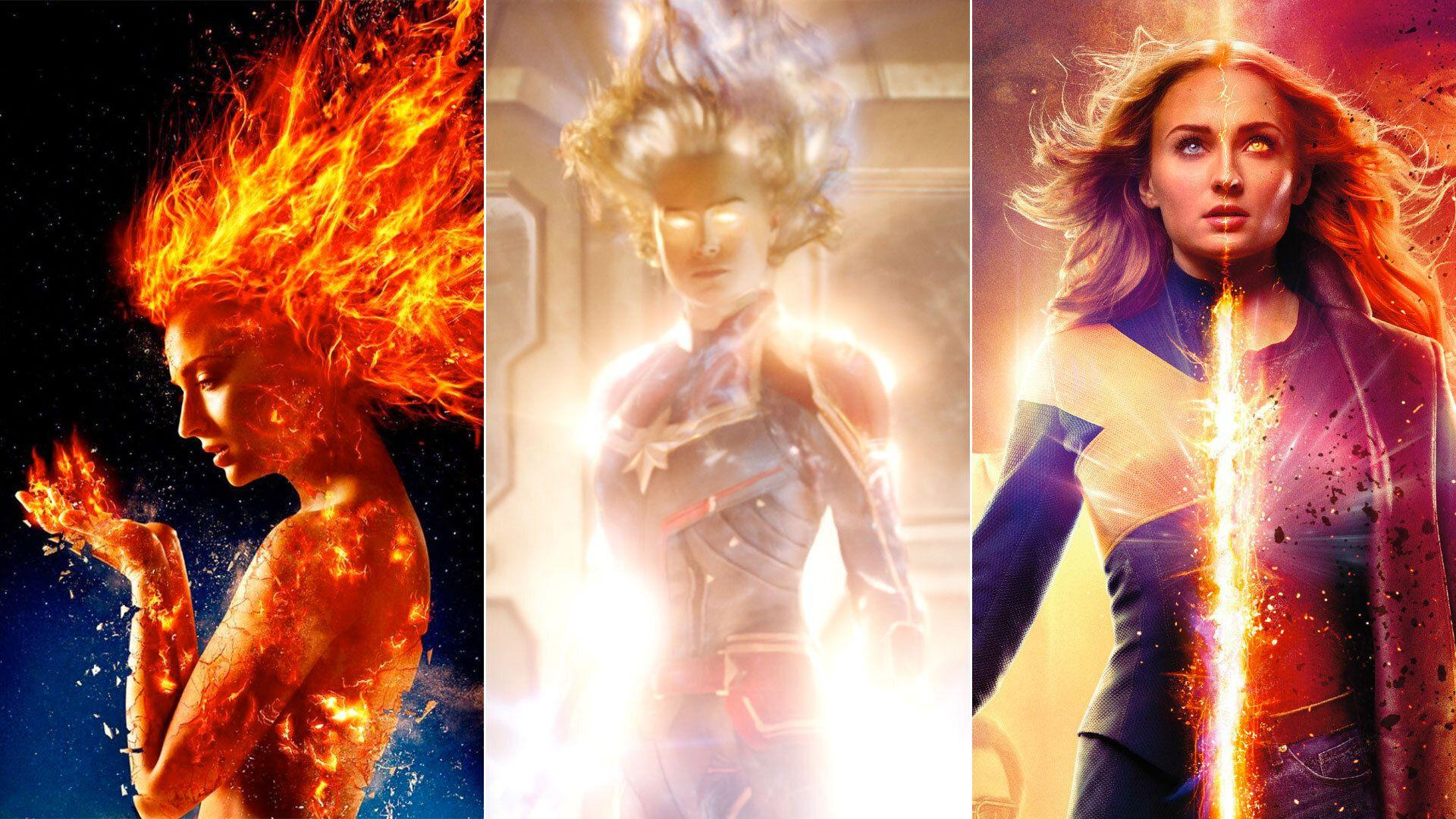 Flame on: Early <i>Dark Phoenix</i> publicity stills showed a much more fiery look for Jean Grey. This has been changed in the final film for something very different. (20th Century Fox/Marvel Studios)