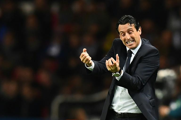 Paris Saint-Germain's coach Unai Emery reacts during their UEFA Champions League Group A match against Basel, at the Parc des Princes stadium in Paris, on October 19, 2016