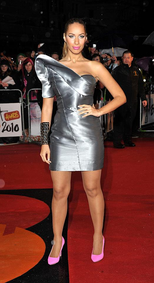 """Bleeding Love"" songstress Leona Lewis popped a pose in a futuristic William Tempest frock, which she accessorized with pink lips, Stella McCartney pumps, and a studded Alexis Bittar cuff. Jon Furniss/<a href=""http://www.wireimage.com"" target=""new"">WireImage.com</a> - February 16, 2010"