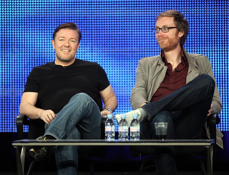 """PASADENA, CA - JANUARY 14:  Executive producers Ricky Gervais (L) and Stephen Merchant of """"The Ricky Gervais Show"""" speak during the HBO portion of the 2010 Television Critics Association Press Tour at the Langham Hotel on January 14, 2010 in Pasadena, California.  (Photo by Frederick M. Brown/Getty Images)"""