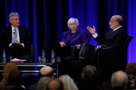 U.S. Federal Reserve Chairman Jerome Powell and former Fed Chair Janet Yellen look on as former Fed Chairman Ben Bernanke speaks at the American Economic Association/Allied Social Science Association (ASSA) 2019 meeting in Atlanta, Georgia, U.S., January 4, 2019.  REUTERS/Christopher Aluka Berry