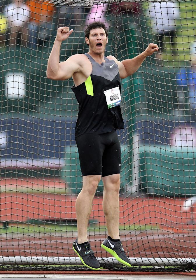 After 12 hour construction shifts, 28-year-old Team USA discus-thrower Lance Brooks puts in two hours at his local gym.  Unlike the money available to runners, discus throwers often need to take full-time jobs to make ends meet.  At one point, Brooks had seven jobs, including construction worker, bouncer, bartender, substitute teacher, and Wal-Mart employee.  While bartending one day, he met his coach Steve DeAutremont, who saw potential in the 6-foot-6, 270-pound Brooks.  He began taking the sport more seriously and qualified at the Track & Field Trials on his final throw by six inches.  Maybe those long construction shifts gave him that extra bit of muscle.  (Christian Petersen/Getty Images)