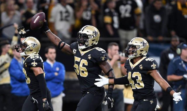 "<a class=""link rapid-noclick-resp"" href=""/nfl/teams/new-orleans/"" data-ylk=""slk:New Orleans Saints"">New Orleans Saints</a> outside linebacker Demario Davis had a first-quarter interception in the NFC championship game. (AP)"