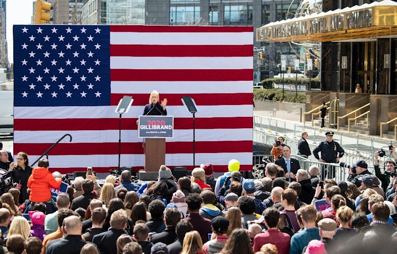 Gillibrand rallies supporters at the official kickoff of her campaign for US president (AFP Photo/Johannes EISELE)