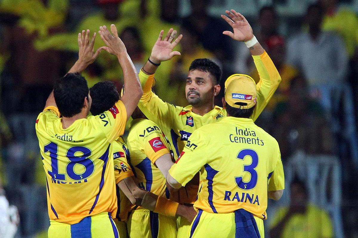 Murali Vijay celebrates the wicket of Quinton de Kock during match 34 of the Pepsi Indian Premier League between The Chennai Superkings and the Sunrisers Hyderabad held at the MA Chidambaram Stadiumin Chennai on the 25th April 2013. (BCCI)
