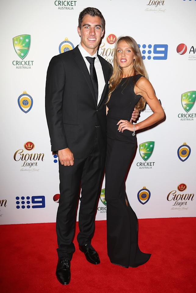 SYDNEY, AUSTRALIA - JANUARY 20: Patrick Cummins and Rebecca Boston arrive at the 2014 Allan Border Medal at Doltone House  on January 20, 2014 in Sydney, Australia.  (Photo by Don Arnold/WireImage)