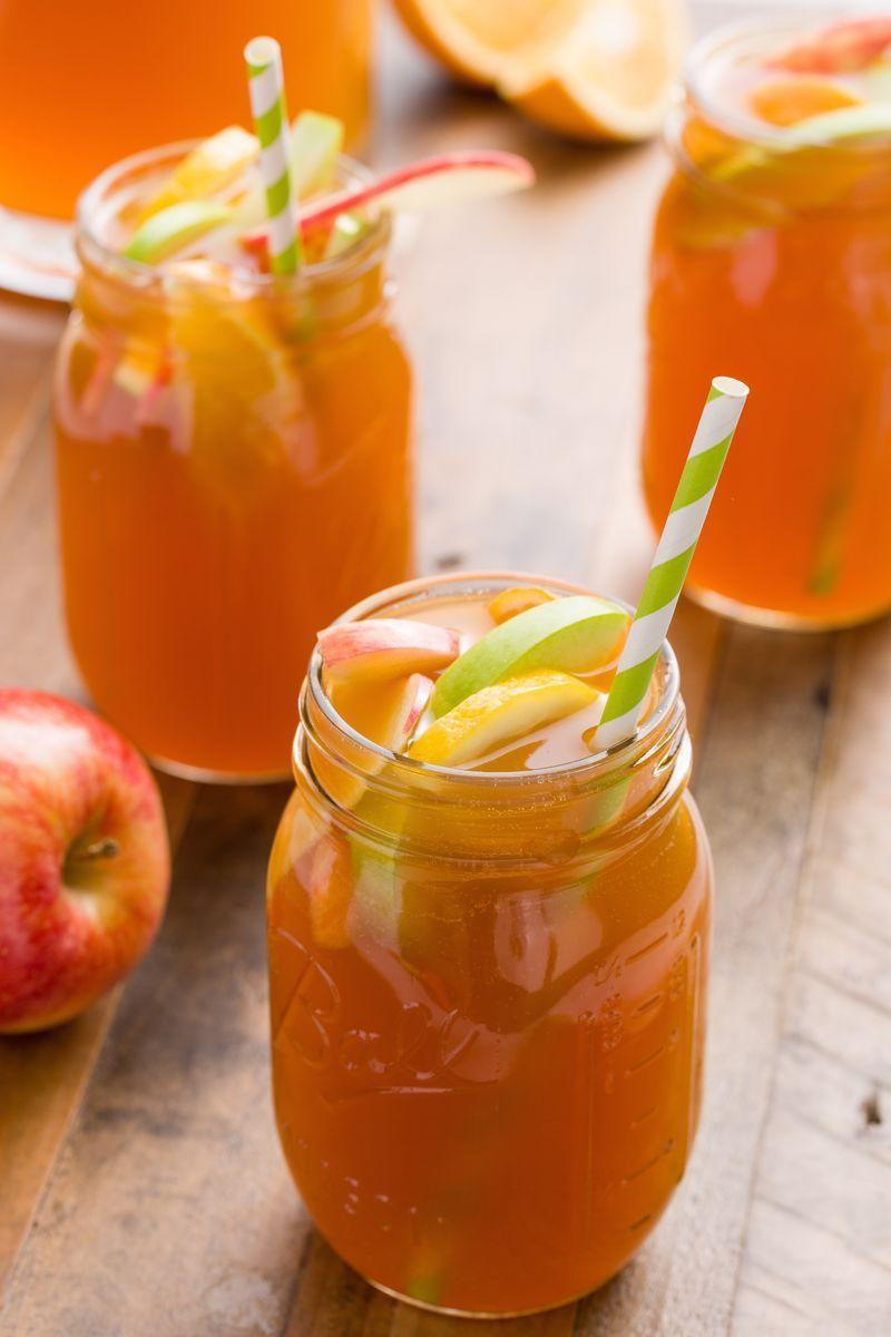 """<p><a href=""""https://www.delish.com/uk/cocktails-drinks/a28934750/sangria-recipe/"""" rel=""""nofollow noopener"""" target=""""_blank"""" data-ylk=""""slk:Sangria"""" class=""""link rapid-noclick-resp"""">Sangria</a> might make you think of warm summer nights, but this apple-based cocktail will have you ready for fall. Here, we went for a <a href=""""https://www.delish.com/uk/cocktails-drinks/g28999926/white-wine/"""" rel=""""nofollow noopener"""" target=""""_blank"""" data-ylk=""""slk:white wine"""" class=""""link rapid-noclick-resp"""">white wine</a> sangria, rounded out with spicy ginger beer and sweet apple cider. When it comes to apples, anything goes, but we definitely think it's best (both visually and flavour-wise,) to pick a few types of apples. We used Granny Smith, Red Delicious, and Golden Delicious here, but Honeycrisp and Gala work great in this cocktail, too. </p><p>Get the <a href=""""https://www.delish.com/uk/cocktails-drinks/a33120341/apple-cider-sangria-recipe/"""" rel=""""nofollow noopener"""" target=""""_blank"""" data-ylk=""""slk:Apple Cider Sangria"""" class=""""link rapid-noclick-resp"""">Apple Cider Sangria</a> recipe.</p>"""