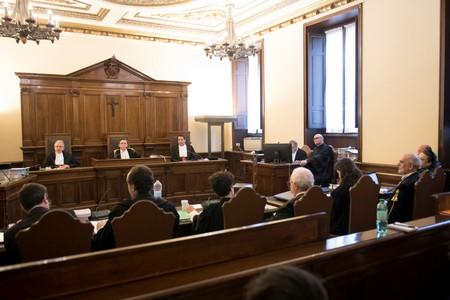 The court room where the former president of the Institute for Works of Religion (IOR) Angelo Caloia has the first hearing of his trial, is pictured at the Vatican