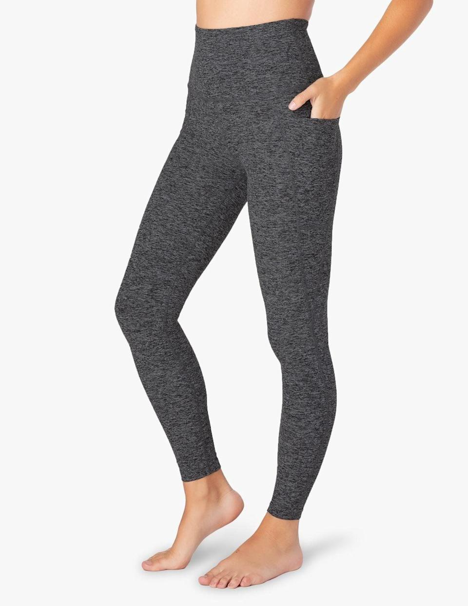 <p>If you're looking for a great neutral that isn't black, these deep gray <span>Beyond Yoga Spacedye Out of Pocket High Waisted Midi Leggings</span> ($99) are it.</p>