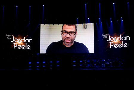 Jordan Peele accepts his award for Director of the Year with a video message at the Big Screen Achievement Awards during CinemaCon, a convention of movie theater owners, in Las Vegas