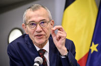 FILE - In this Friday, Oct. 23, 2020 file photo, Belgium's Public Health and Social Affairs Minister Frank Vandenbroucke speaks during a news conference after a government meeting to tighten coronavirus, COVID-19 measures, in Brussels. Small, yet so divided, Belgium is hit hard again by the pandemic, and now has some of the worst results to show in Europe during the resurgence of the Coronavirus, it is revealed Tuesday Oct. 27, 2020. (Sebastien Pirlet, Pool via AP, File)