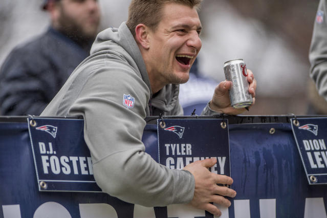 Rob Gronkowski is ready to party at the Super Bowl, but this year it'll be at his own party instead of a parade. (Billie Weiss/Getty Images)