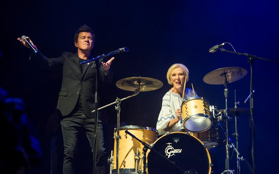 Rick Astley on stage with Mary Berry at Camp Bestival in 2018