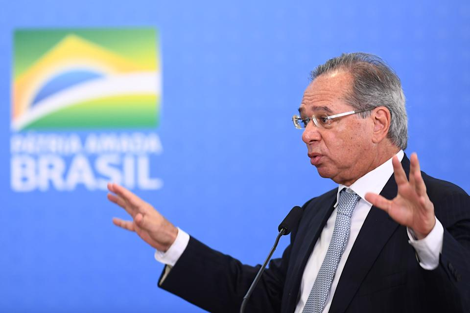 Brazilian Economy Minister Paulo Guedes delivers a speech during a ceremony to announce measures to stimulate the economy at Planalto Palace in Brasilia, on July 24, 2019. - According to the government, the measures will be in force in September and they are planned to inject 42 billion reals (around 11 billion dollars) in the economy by 2020. (Photo by EVARISTO SA / AFP)        (Photo credit should read EVARISTO SA/AFP/Getty Images)