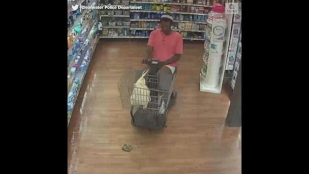PHOTO: Police are asking for the public's help to locate a suspect in a motorized shopping cart who allegedly stole a Walmart shopper's wallet in Clearwater, Fla., on April 1, 2019. (Clearwater Police Department)