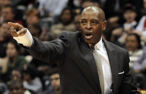 Atlanta Hawks head coach Larry Drew gives direction against the Chicago Bulls during the first half of an NBA basketball game, Saturday, Jan. 7, 2012, in Atlanta. (AP Photo/John Amis)