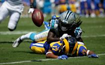 Cornerback Donte Jackson #26 of the Carolina Panthers defends wide receiver Robert Woods #17 of the Los Angeles Rams in the game at Bank of America Stadium on September 08, 2019 in Charlotte, North Carolina. (Photo by Streeter Lecka/Getty Images)