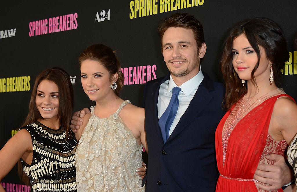 """Vanessa Hudgens, Ashley Benson, James Franco and Selena Gomez attend the """"Spring Breakers"""" premiere at ArcLight Cinemas on March 14, 2013 in Hollywood, California."""