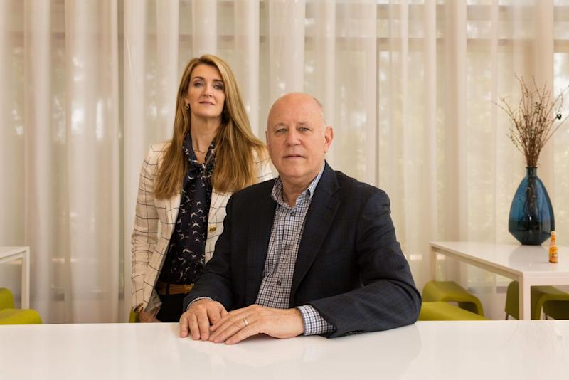 Jeffrey Sprecher, chairman and CEO of Intercontinental Exchange, with his wife Kelly Loeffler, the chief communications and marketing officer of ICE, at the company's headquarters in Atlanta on July 27, 2018.