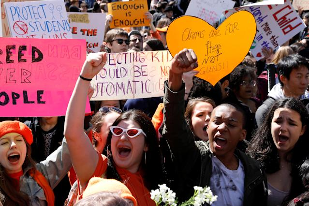 <p>Youths take part in a National School Walkout anti-gun march in Washington Square Park in Manhattan, New York City, April 20, 2018. (Photo: Brendan McDermid/Reuters) </p>