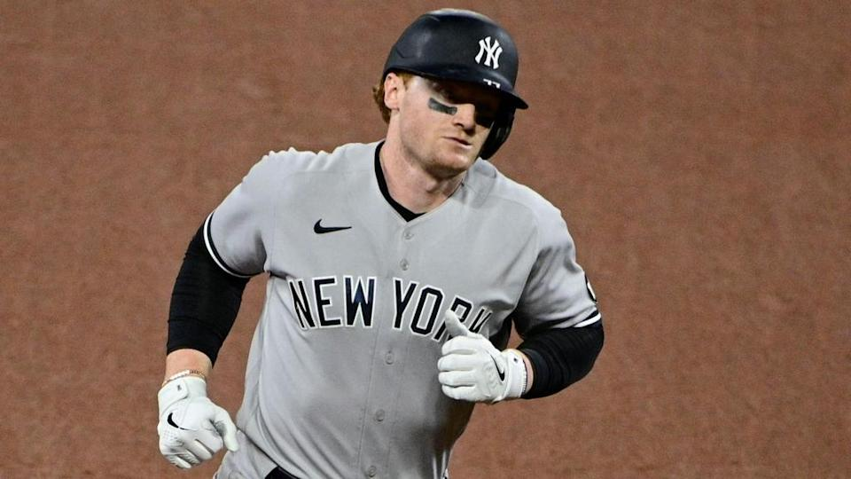 Clint Frazier rounds the bases after HR road greys