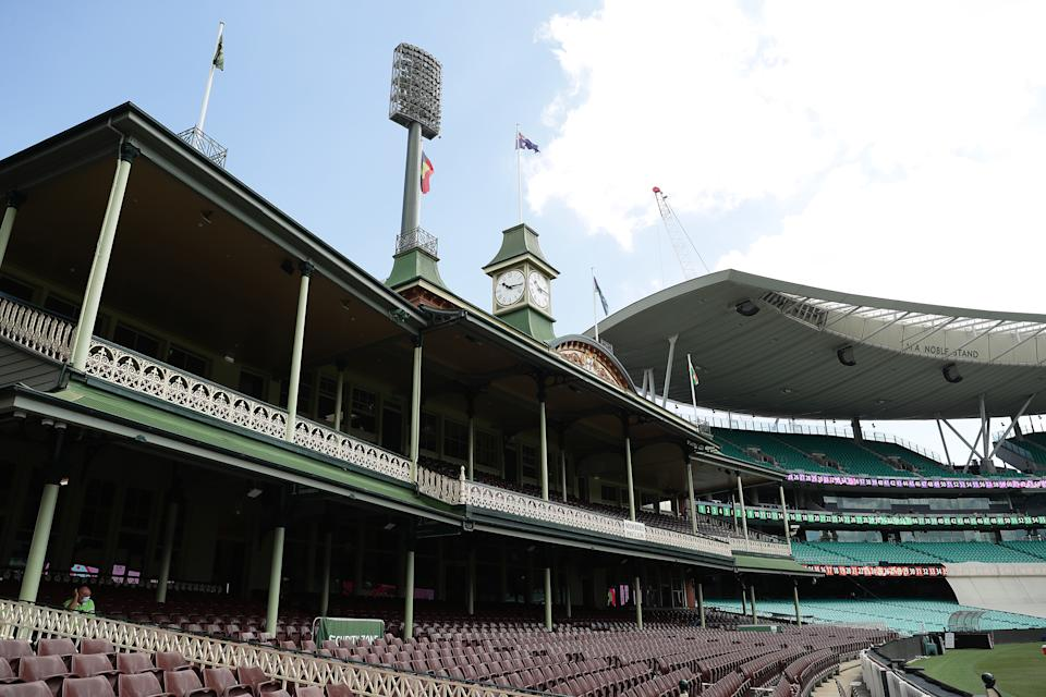 A general view of seats in the Ladies and Members stands during the India nets session at the Sydney Cricket Ground on January 05, 2021 in Sydney, Australia.