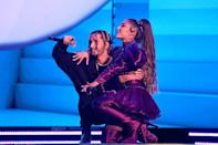"""<p>Rumors of a romance between Ariana and Mikey first began swirling in August 2019 when they had a steamy makeout session in <a href=""""https://www.popsugar.com/entertainment/Ariana-Grande-Boyfriend-Music-Video-46446546"""" class=""""link rapid-noclick-resp"""" rel=""""nofollow noopener"""" target=""""_blank"""" data-ylk=""""slk:the singer's &quot;Boyfriend&quot; music video"""">the singer's """"Boyfriend"""" music video</a>. The two were then spotted hanging out together on multiple outings, and Mikey even joined Ariana on her <strong>Sweetener</strong> world tour with his band, Social House. It wasn't until a month later, though, that Ariana's brother, <a href=""""https://www.popsugar.com/celebrity/Ariana-Grande-Mikey-Foster-Dating-46579967"""" class=""""link rapid-noclick-resp"""" rel=""""nofollow noopener"""" target=""""_blank"""" data-ylk=""""slk:Frankie, confirmed their relationship"""">Frankie, confirmed their relationship</a> to <strong>Us Weekly</strong>. """"I love Mikey. I think he's a really sweet guy. So talented. So kind and so caring,"""" the 36-year-old told the outlet. """"He's a great guy."""" However, he later backtracked in a now-deleted tweet, saying Ariana is single. In February, though, <a href=""""https://www.popsugar.com/celebrity/ariana-grande-mikey-foster-at-disneyland-pictures-47179730"""" class=""""link rapid-noclick-resp"""" rel=""""nofollow noopener"""" target=""""_blank"""" data-ylk=""""slk:they were spotted walking arm in arm"""">they were spotted walking arm in arm</a> at Disneyland, but <a href=""""https://www.teenvogue.com/story/ariana-grande-social-house-mikey-foster-have-reportedly-broken-up"""" class=""""link rapid-noclick-resp"""" rel=""""nofollow noopener"""" target=""""_blank"""" data-ylk=""""slk:they broke up days later"""">they broke up days later</a>.</p>"""