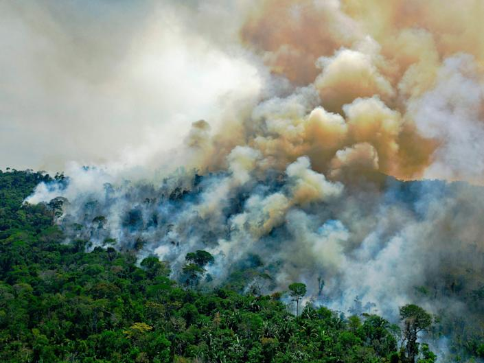 Aerial view of a burning area of Amazon rainforest reserve, south of Novo Progresso in Para state, on August 16, 2020.  (AFP via Getty Images)