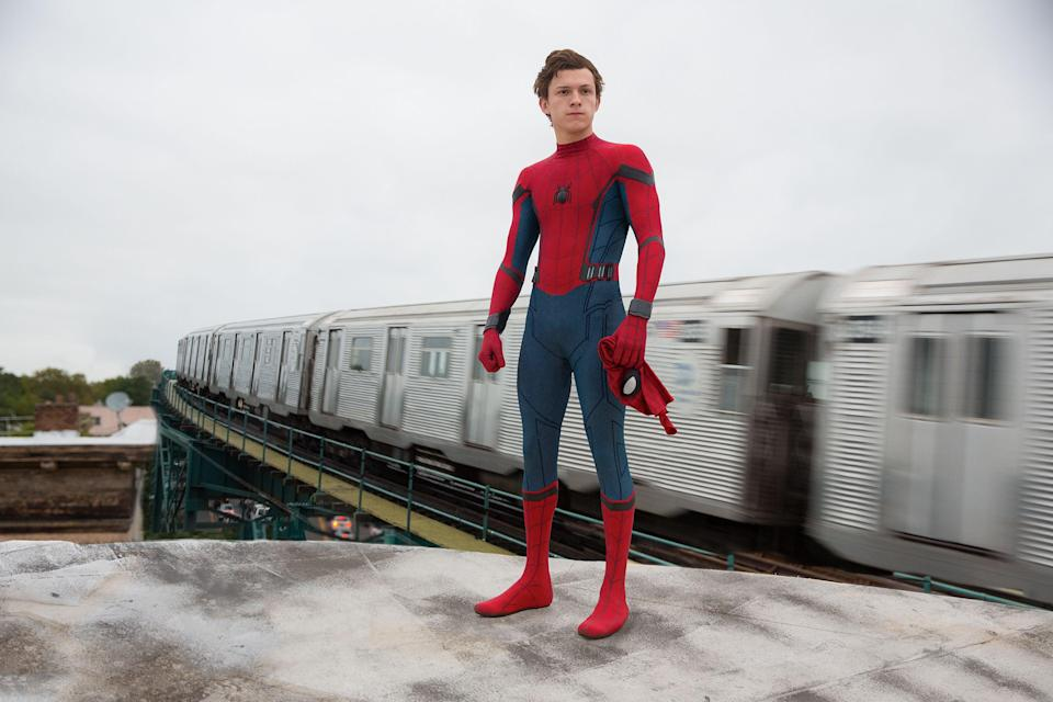 Tom Holland (pictured in Homecoming) is stepping back into the Spidey suitPR