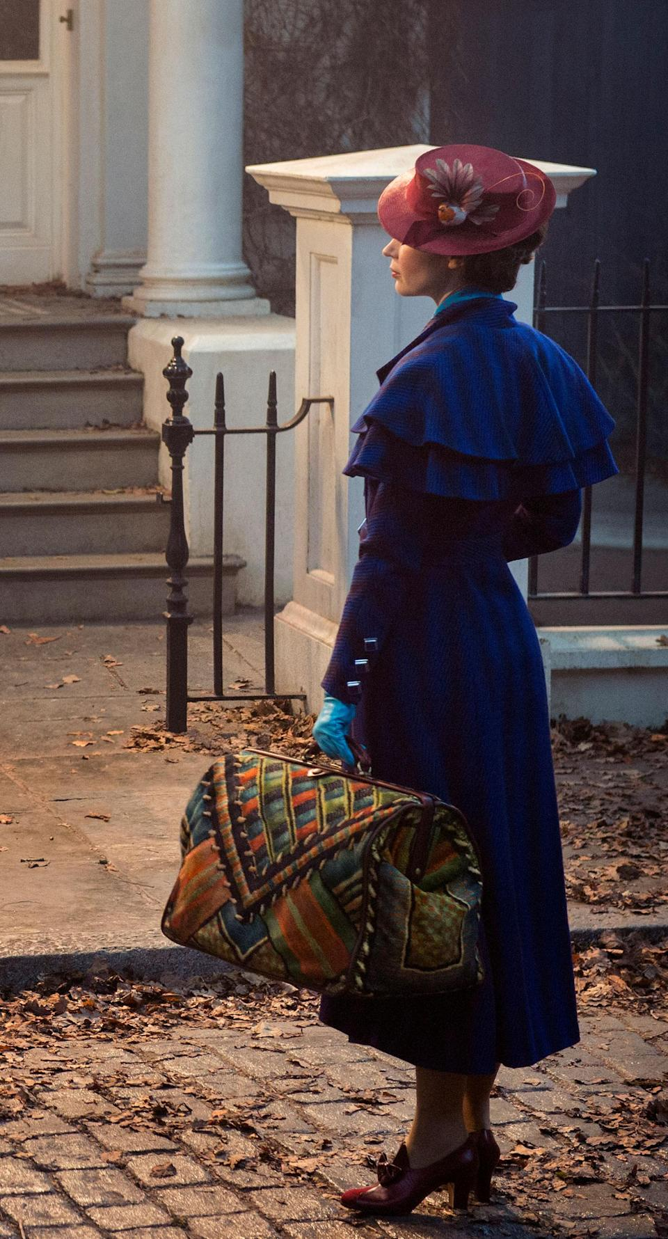 Emily Blunt in her Mary Poppins entrance costume, which was one of the first images released from the film (Disney)
