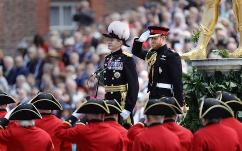The Duke of Sussex salutes the Chelsea pensioners - Credit: Aaron Chown/Pa