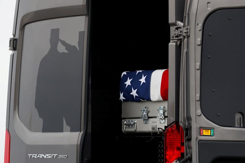 FILE PHOTO:    Dignified transfer ceremony for four Americans killed in Syria is attended by President Trump at Dover Air Force Base in Delaware