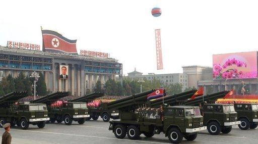 North Korean rockets are displayed during the 2010 military parade in Pyongyang
