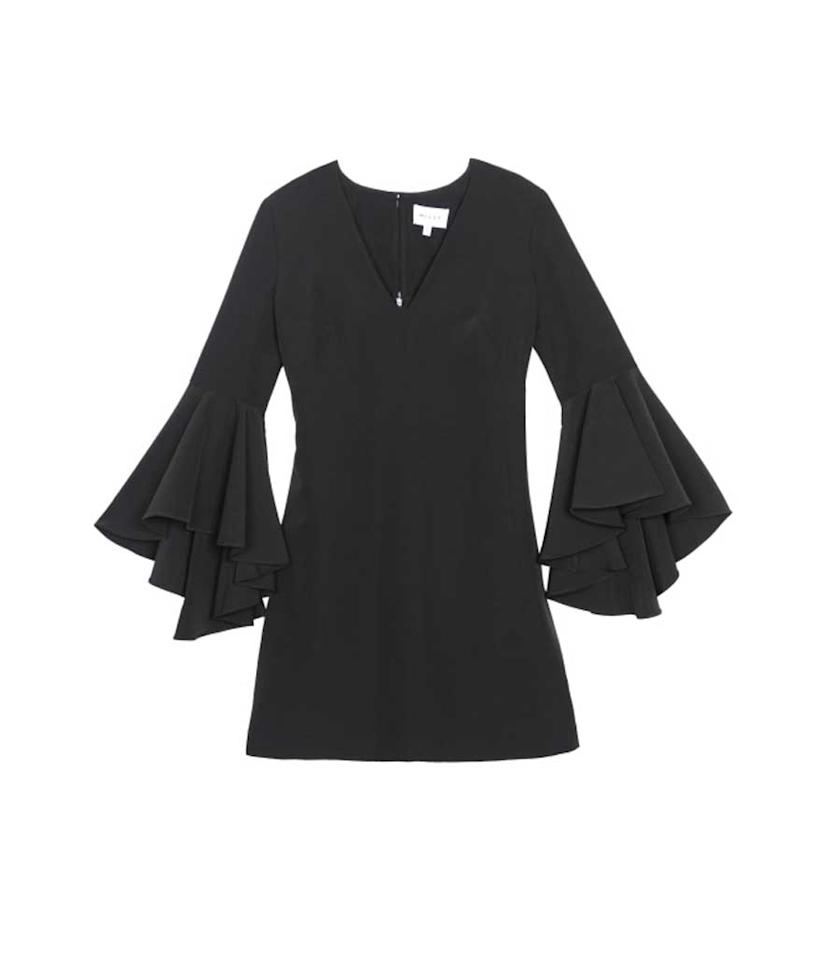 "<p>Milly Women's Italian Cady V-Neck Bell Sleeve Nicole Mini Dress, $380 + 30% off, <a rel=""nofollow"" href=""https://www.amazon.com/dp/B01KGGBVNC?th=1&psc=1"">amazon.com</a> </p>"