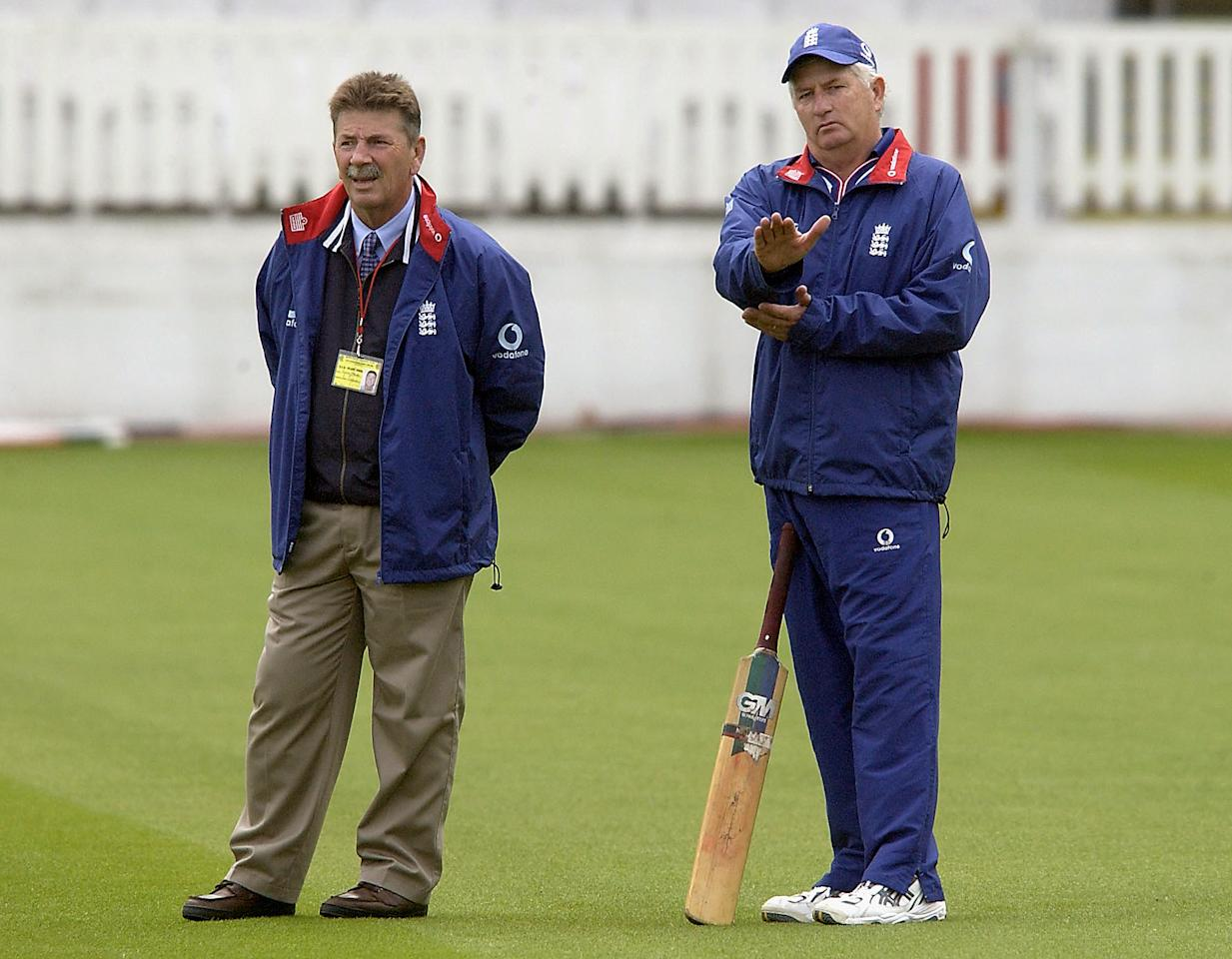LONDON - MAY 20:  Rodney Marsh (L), one the England selectors, chats with Duncan Fletcher during the England nets session prior to the 1st NPower Test match at Lords Cricket Ground on May 20, 2003 in London. (Photo by Tom Shaw/Getty Images)