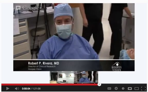Robert Rivera, the director of clinical research at Hoopes Vision in Salt Lake City, conducts eye surgery on a live-streamed webcast.
