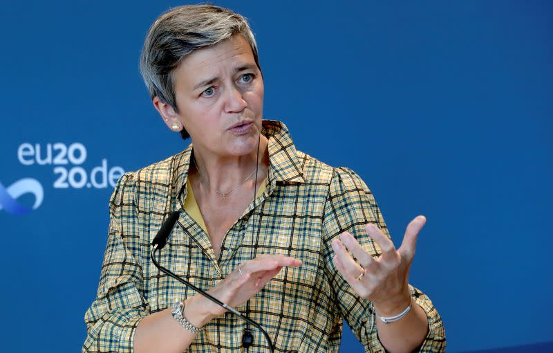 FILE PHOTO: Margrethe Vestager addresses the media at the German Economy Ministry in Berlin, Germany