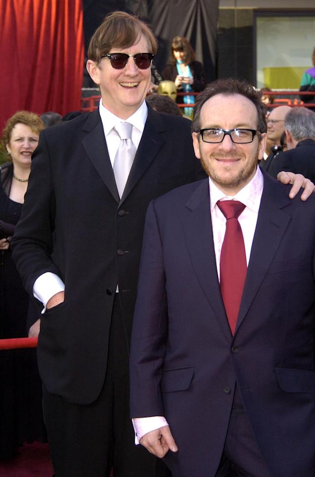 T Bone Burnett and Elvis Costello during The 76th Annual Academy Awards – Arrivals by Jeff Kravitz at Kodak Theatre in Hollywood, California, United States. (Photo by Jeff Kravitz/FilmMagic, Inc)