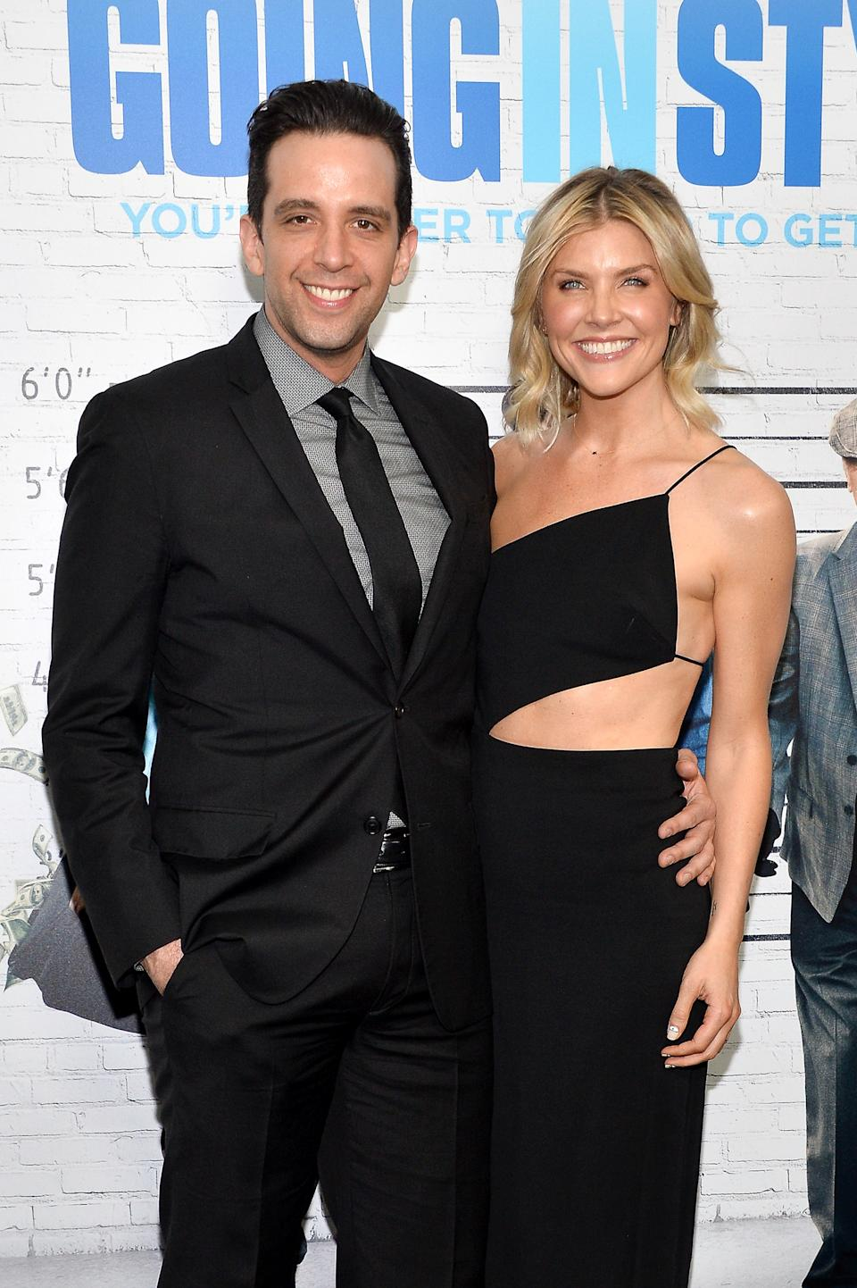 """NEW YORK, NY - MARCH 30:  Nick Cordero (L) and Amanda Kloots attend the """"Going in Style"""" New York premiere at SVA Theatre on March 30, 2017 in New York City.  (Photo by D Dipasupil/FilmMagic)"""