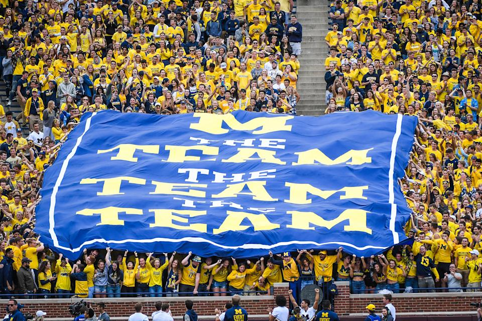 ANN ARBOR, MI - SEPTEMBER 08: The Michigan Wolverines student section holds up a banner with the saying