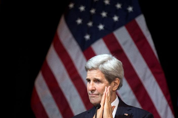 US Secretary of State John Kerry, photographed November 14, 2015 in Vienna, was among diplomats who set a six-month calendar for a ceasefire and political transition in Syria (AFP Photo/Vladimir Simicek)