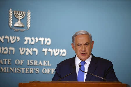 Israeli Prime Minister Netanyahu speaks during a news conference at his office in Jerusalem