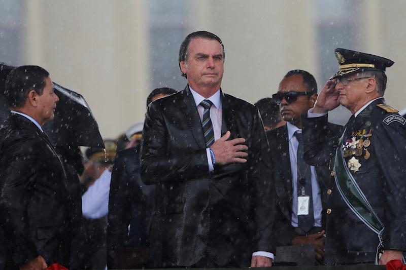 Brazil's President Jair Bolsonaro looks on during an Army Day ceremony, in Brasilia, Brazil April 17, 2019. REUTERS/Adriano Machado